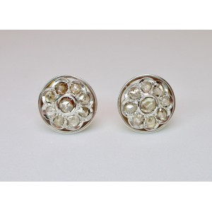 Cluster earrings with rose cut diamonds
