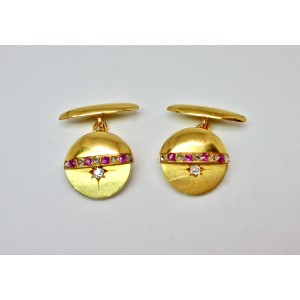 Ruby and diamond cufflinks