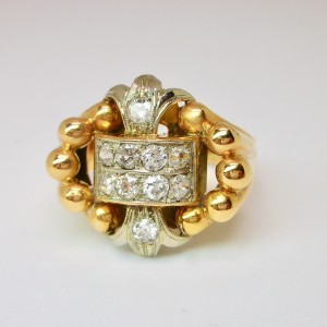 1950s gold and diamond cocktail ring