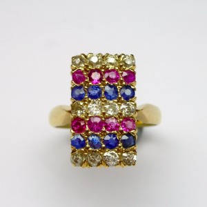 Ring with diamonds, rubies and sapphires