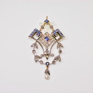 Pendente Deco con diamanti e zaffiri