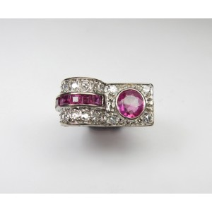 Rubies and diamond 1940s cocktail ring