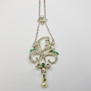 Collieur Liberty con diamanti e smeraldi