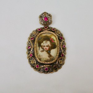 Portrait of a lady miniature with rubies