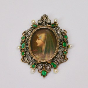 Portrait of a lady surrounded by emeralds and diamonds