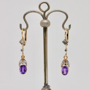 Diamond and amethyst deco earrings