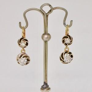 Earrings with old mine cut diamonds