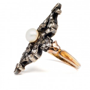 Antique pearl and diamond ring 1800s