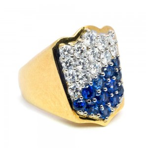 Shield Ring in gold Sapphires & Diamonds