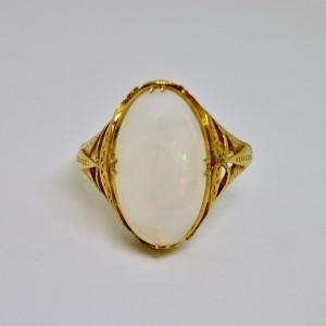 White opal Art Nouveau ring