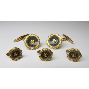 Cufflinks and buttons set in gold and enamel