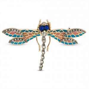 Dragonfly brooch Plique-à-jour enamels