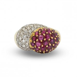 Ruby and diamonds cocktail ring