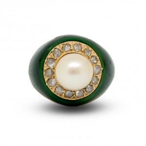Pearl and rose cut diamonds green enamel ring