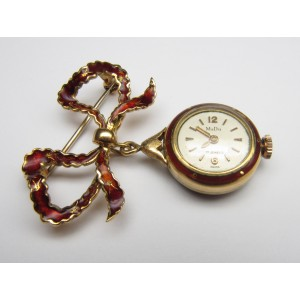 Orologio pendente con spilla e smalti