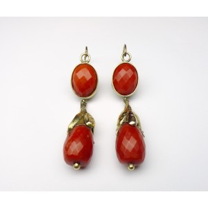 Antique coral pendant earrings