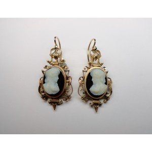 Agate cameo earrings