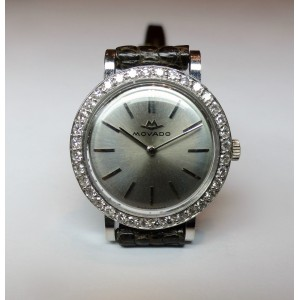 Movado watch in white gold and diamonds