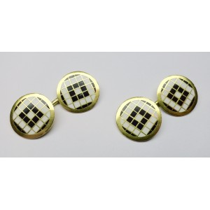 Cufflinks with chess like enamels