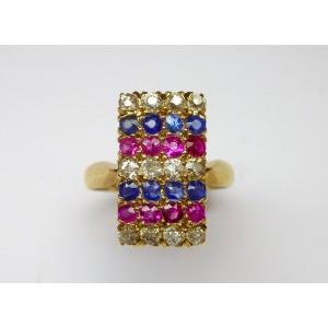 Anello con diamanti, zaffiri e rubini