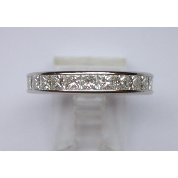 eternity ring with princess cut diamonds in platinum