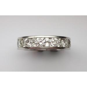 Eternity ring with round cut diamonds in platinum