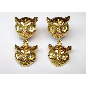 Owl earrings with diamonds