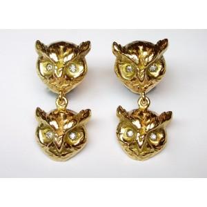 Owl earrings with diamonds
