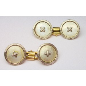 Deco cufflinks with mother of pearl